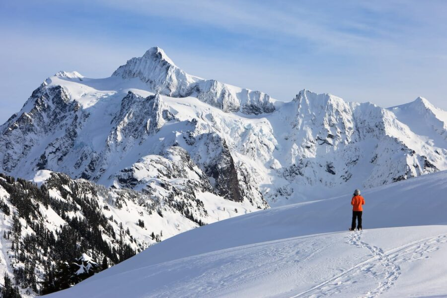 Snowshoeing at Mt. Baker in winter